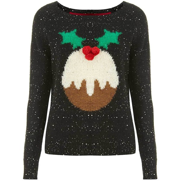 Marie Sequin Christmas Pudding Jumper in Black